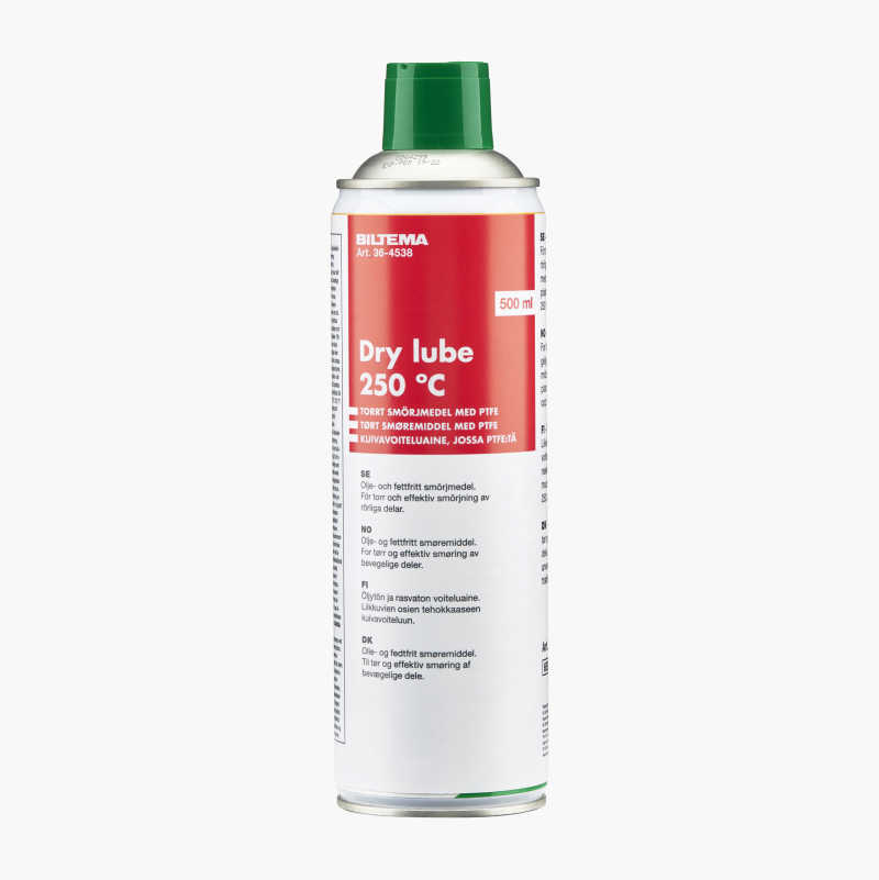 Dry lubricant with PTFE.