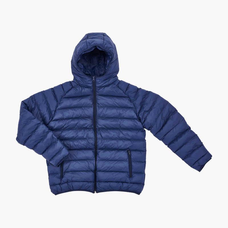Lightly-lined jacket, dark navy blue.