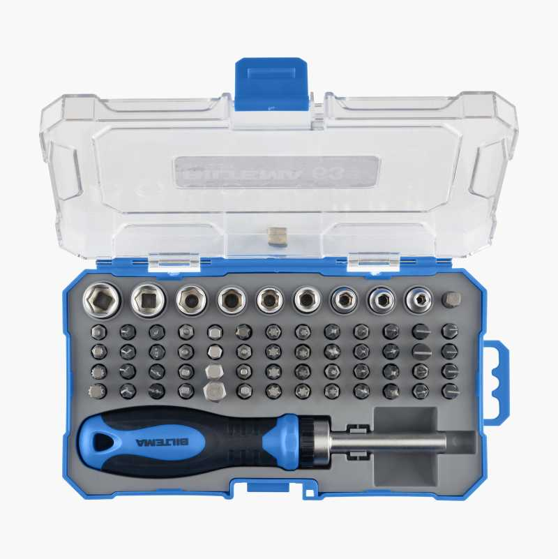 Ratchet screwdriver with bits and sockets, 63 parts