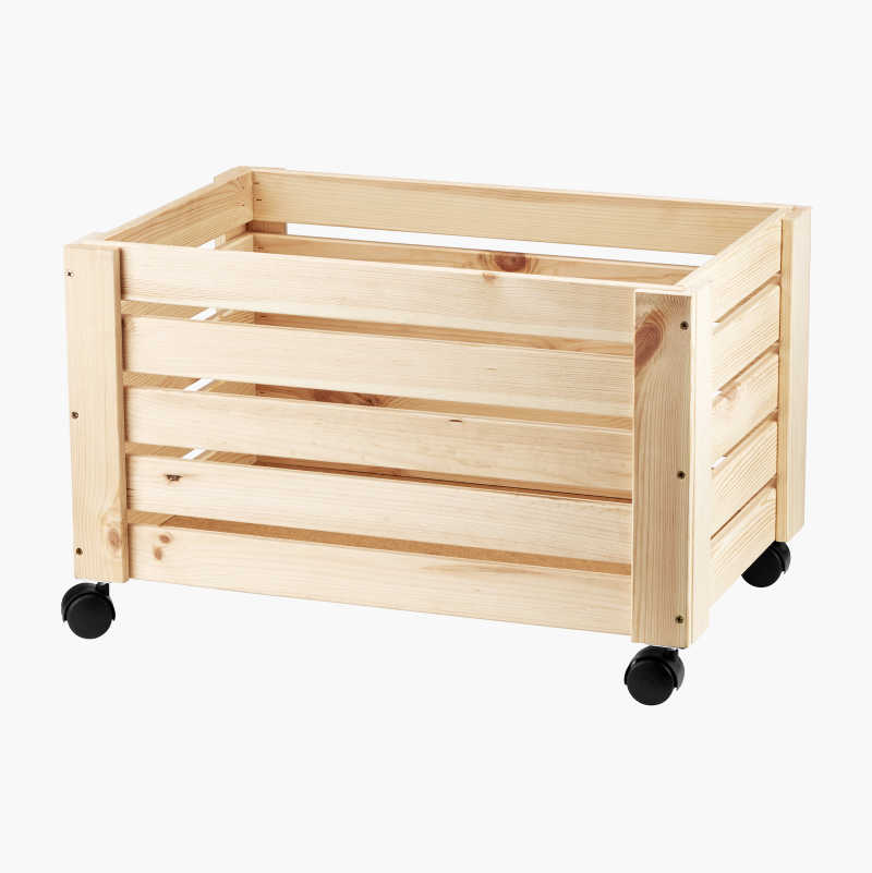 Storage box in wood with wheels
