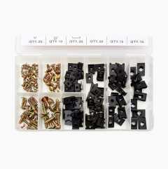 Clip Nuts and Metal Screw Assortment, 170 pcs.