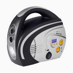 Battery-driven compressor.