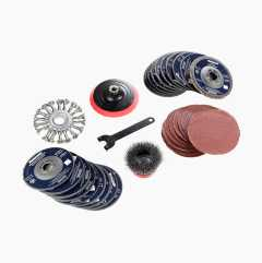 Sanding and cutting disc set, 35 parts