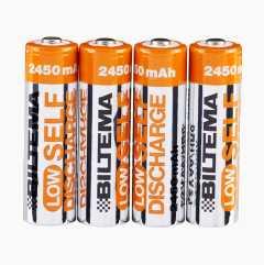 Oppladbare batterier, 4 stk.