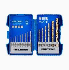 Drill bit set HSS 15 parts